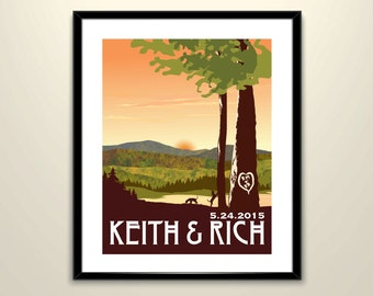 Green Sunset Appalachian 11x14 Poster // Wedding Landscape Vintage Travel Poster - Personalize with Names and date (frame not included)