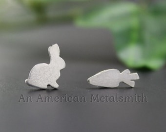 Sterling Silver Rabbit Earrings, Rabbit Jewelry, Silver Bunny Earrings, Mismatched Stud, Bunny Jewelry, Easter Earrings, Easter Jewelry