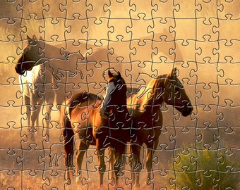 Peaceful Gathering Zen Puzzle - Hand crafted, eco-friendly, American made artisanal wooden jigsaw puzzle