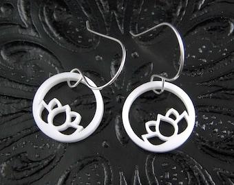 Floating Lotus Earrings in White