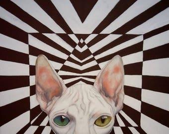 Perplexity | Original Painting | Surrealism | Gift | Cat lover | Sphynx Cat | Optical | Geometric | Vegan theme | Art by Mona King