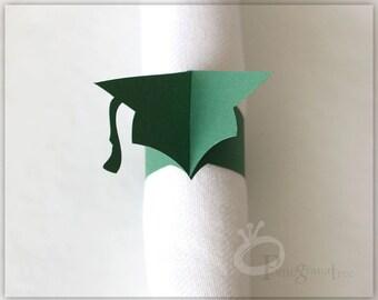 Graduation Party Decor, College Colors, Set of 10 Paper Napkin Rings, Graduation Cap Grad Cap Napkins High School Graduation Dark Green GC40