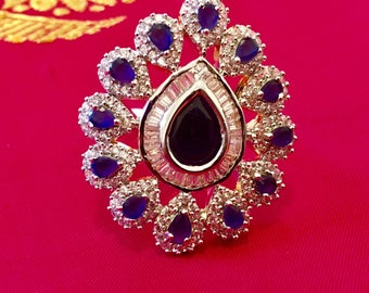 New Very gorgeous  simulated diamond ring| indian jewelry| indian ring