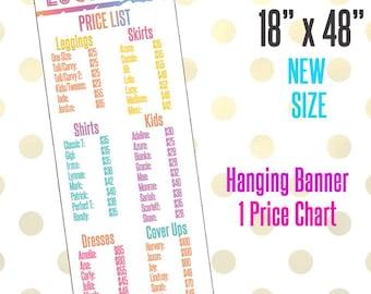 "18"" x 48"" LLR Printed Banner, Price Chart Add Logo & Name, LLR Pop-Up Boutique, LLR Custom Price Banner"
