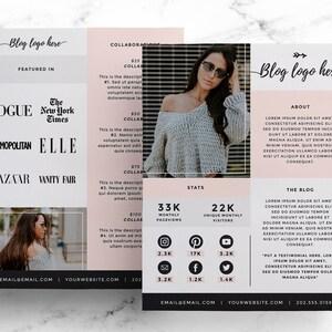 Media Kit Template for Bloggers, Price List + Press Kit, Blogging Media Kit, Advertising Rate Sheet, Social Influencer + Instagram Photoshop