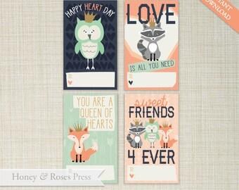 Printable Princess Woodland Valentine's Day Cards  .  Kids Valentines Cards  .  Classroom Valentines  .  Instant Download  .