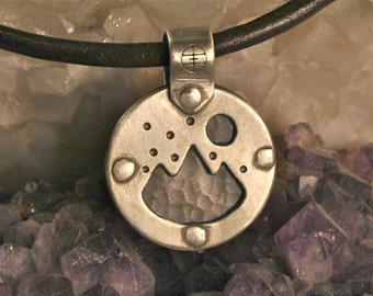 Small Double Sided Sterling Silver Pendant - Handmade - Flower - Mountain w/Moon- Riveted