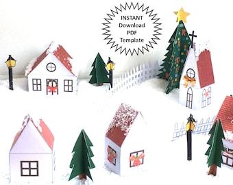 Christmas Village Display DIY Christmas Decor Christmas Village Set Printable Christmas Town Christmas House Christmas Houses PDF Tutorial