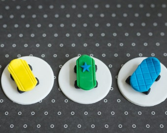 Fondant Skateboard Toppers for Birthday Cupcakes, Cookies or Cakes