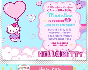 Hello Kitty Invitation, Hello Kitty Party, Hello Kitty Invite, Hello Kitty Birthday, Hello Kitty Birthday Invitation, Hello Kitty Printable