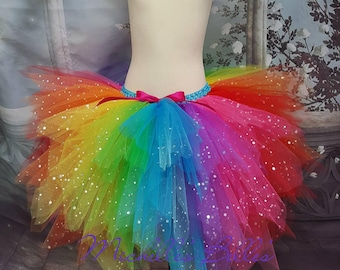Sparkly rainbow extra full tutu skirt with added pink