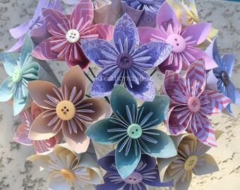 Choose Your Color- Paper Flowers with Stem //Origami Kusudama Flower Bouquet/ Flower Arrangement/ Centerpiece/ Wedding Bouquet