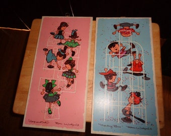 Sweet Vintage art work by Ross Wetzel of Children at play Hopscotch and Monkey Bars