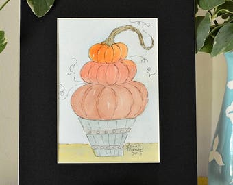 Stacked Pumpkins in Basket Original Watercolor No. 1 by Lana Manis, Autumn, Fall, Primitive, Folk Art, Ready to Frame