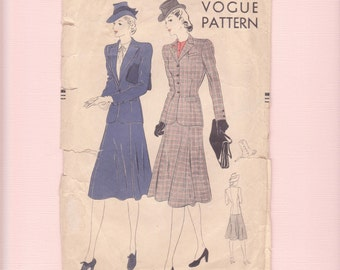 Rare 1930s Vogue fitted Suit Sewing Pattern/ 1939 Vogue 8568 Front Button Notched Collar Jacket, flared skirt Unprinted Pattern/ Size 14 18