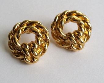 Amazing Vintage Signed MONET Gold Tone Knot Rope Post Stud Earrings