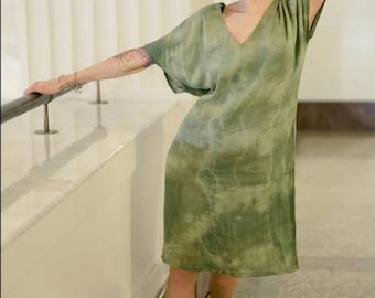 Organic Cotton Shift Dress in moss green. Handdyed & handmade, Mod dress,tie dye,  summer dress, mod dress beachwear. The perfect coverup