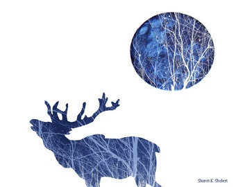 Cobalt Blue Elk Art, Southwestern Photomontage, Bugling Call, Full Moon, Woodland Animal, Wall Hanging, Home Decor, Giclee Print, 11 x 14