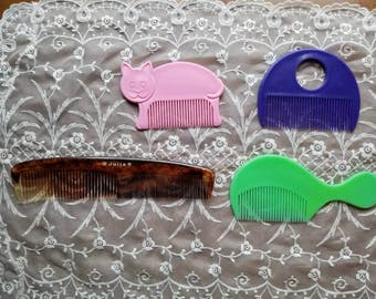 Vintage Julia Lot of 3 Combs Toddler Kids Hair Combs 1960s 1980s Tortoise Green Purple Made in the USA