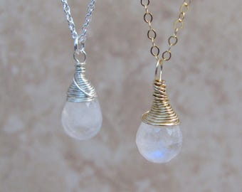 Wire Wrapped Moonstone Necklace, Rainbow Moonstone Jewelry, Blue Flash, Moonstone Briolette, Gemstone Drop, Simple Necklace, Gold, Silver