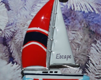 Personalized Sailboat Christmas Ornament