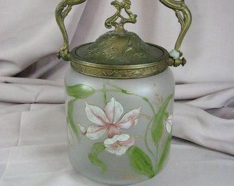 Legras Art Nouveau Biscuit or Cookie Jar / Hand Painted Orchids