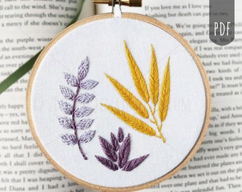 PDF Hand Embroidery Pattern | Botanical Two - Fishbone, Brick, and Split