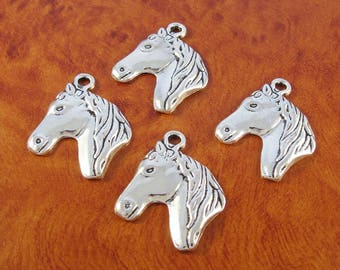 Horse charms / 4 silver horse face charm pendants for jewelry or crafts