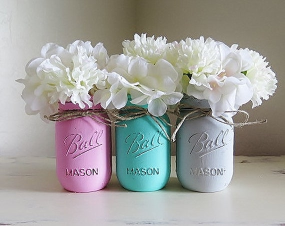 Baby Shower Centerpieces Pink Teal And Gray Mason Jars