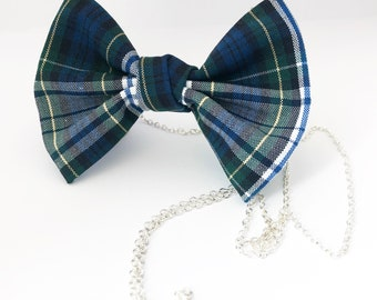 Bow necklace,blue necklace,Uniform necklace,necklace, yellow necklace,plaid jewelry, green necklace, jeweley, bow tie necklace