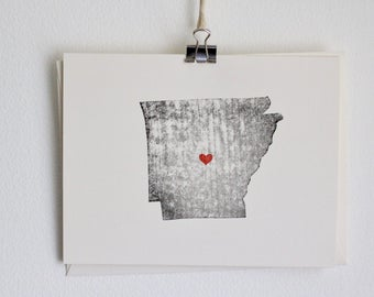 Arkansas State Notecard / Heart / Greeting Card / Rustic / Modern / Moving / Thank You / Chic / Handmade / Wedding / Set of Cards / Travel