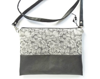 Clutch Wristlet Crossbody Bag Black Vegan Leather Handbag Birthday Gift for Teen Girl