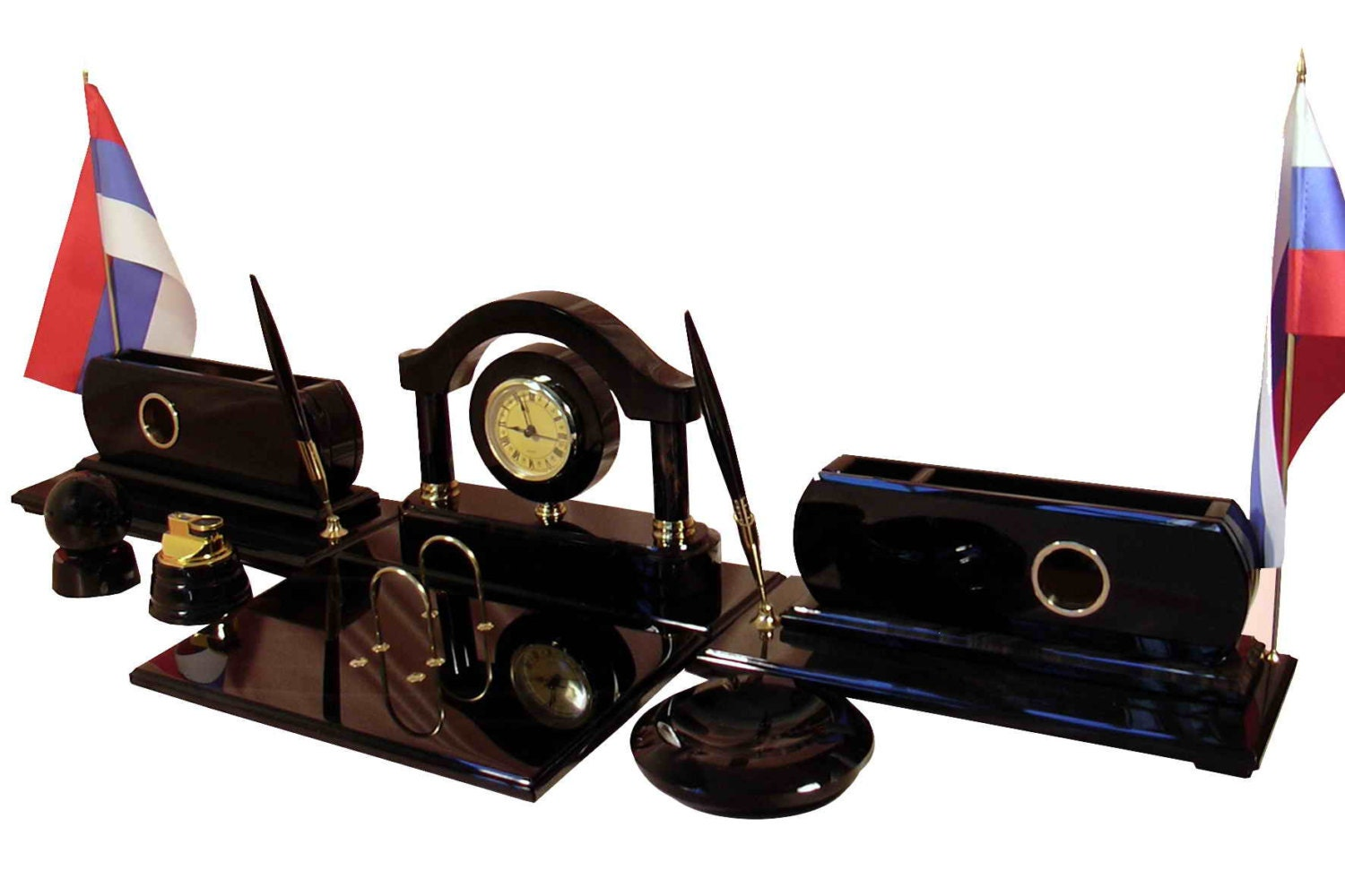 Favorite Elegant office desk set made from obsidian with flags pen FW89