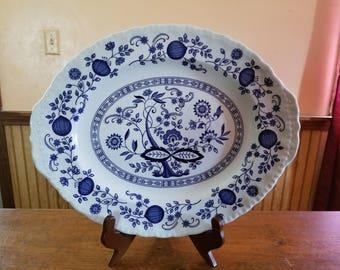 "Blue Heritage blue onion pattern 14"" oval serving platter"
