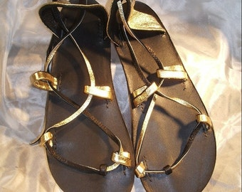 OASIS DANCE Sandals,Leather Lace Up Goddess Style Gold and Black