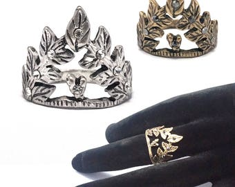 Crown ring in ethno-Boho style gold or silver finger ring in vintage style