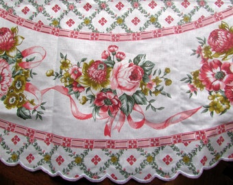 """Pink ribbons and roses Italian linen tablecloth 60"""" round"""