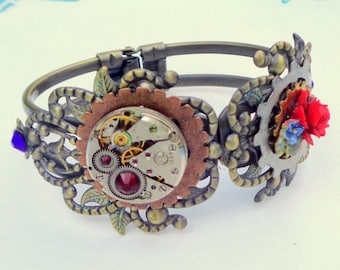 Steampunk Cuff Bracelet, Vintage Ruby Jeweled Watch Movement, Copper, Brass Gears, Red and Blue Swarovski Crystals, Red Resin Rose