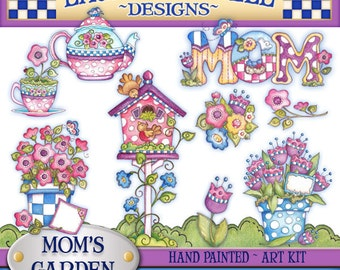 Garden Digital Art, Mother's Day clipart, scrapbooking, flowers clipart, Spring Clipart, Laurie Furnell, cardmaking supply, Teapot clipart