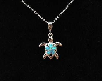 Sterling Silver Turtle Opal Necklace, Lab Opal Plumeria Pendant Necklace, October Birthstone Necklace, Silver Blue Opal Necklace