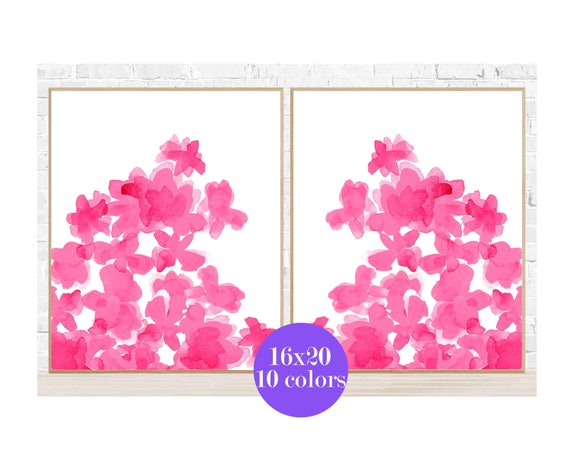 Bright Pink Posters with Flowers for Girls Room, 16x20 Set of 2, 10 Colors