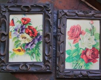 """Pair of 1960s Floral vintage framed lithographs framed prints,carved dark frames,Pair of vintage floral prints,vintage framed artwork 7 x 9"""""""
