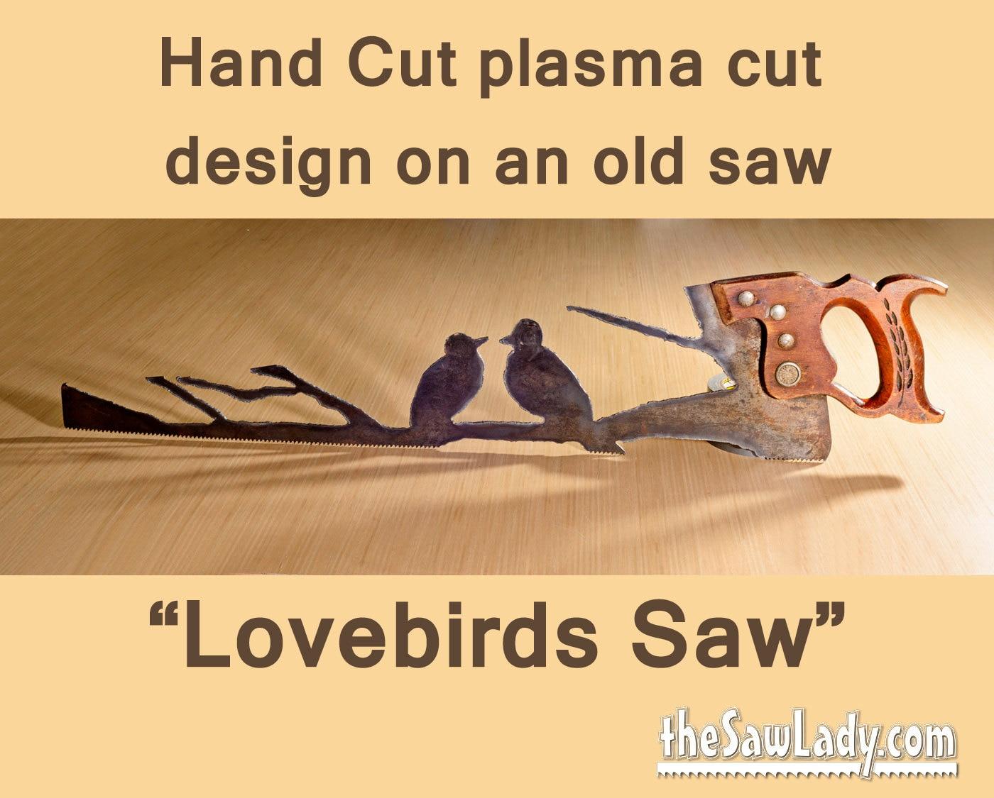 Metal Art Lovebirds design Hand plasma cut handsaw Wall
