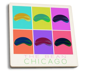 Chicago, Illinois - Bean Pop Art - LP Artwork (Set of 4 Ceramic Coasters)