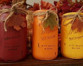 Mason Jar -  Thanksgiving and Fall Rustic Red, Pumpkin Orange and Saffron Yellow Painted and Distressed Mason Jars
