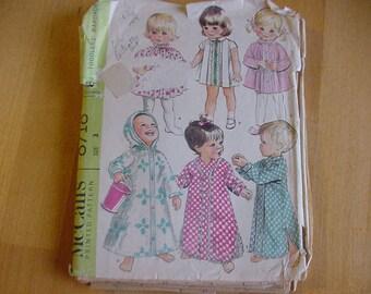 Vintage 1960's McCalls Pattern 8718, Toddler Girls  Wardrobe, Dress, Nightshirt, Robe,  Size 3