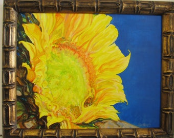 Original Acrylic Sunflower Painting Signed 20 x 18