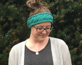 Teal Cabled Crochet Ear Warmer Adult Woman