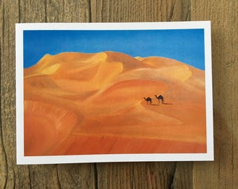 Camels in the dunes - a greetings card from an original oil painting by Claire Sims-Craddock