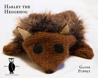Hedgehog Glove Puppet or Comforter, Knitted Toy, OOGH001
